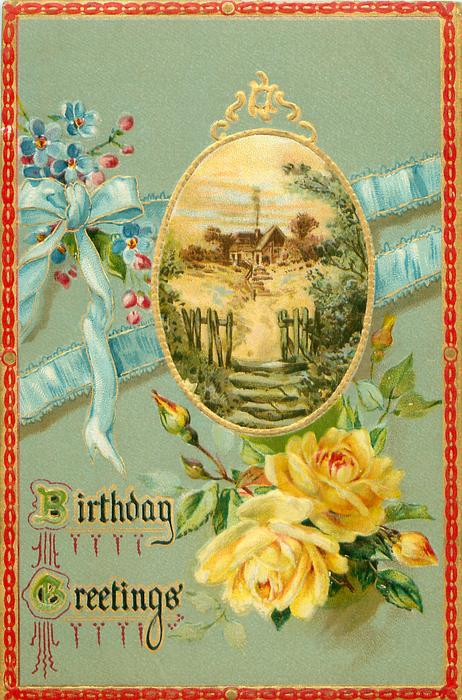 yellow roses, oval inset, steps leading to gateway in wooden fence, path to house, yellow roses, blue ribbon
