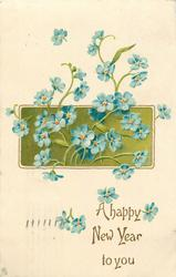 A HAPPY NEW YEAR TO YOU  blank inset with blue flowers which have red and yellow centres