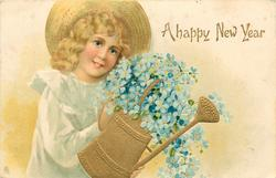 A HAPPY NEW YEAR  girl in straw hat, holding watering can, blue forget-me-nots