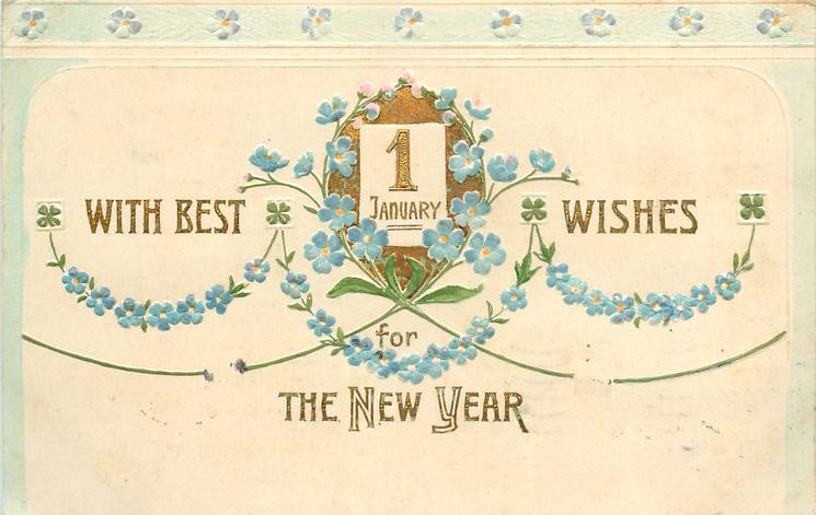WITH BEST WISHES FOR THE NEW YEAR, 1 JANUARY  forget-me-nots & four very small 4 leaf clovers