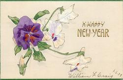 A HAPPY NEW YEAR  white & purple pansies