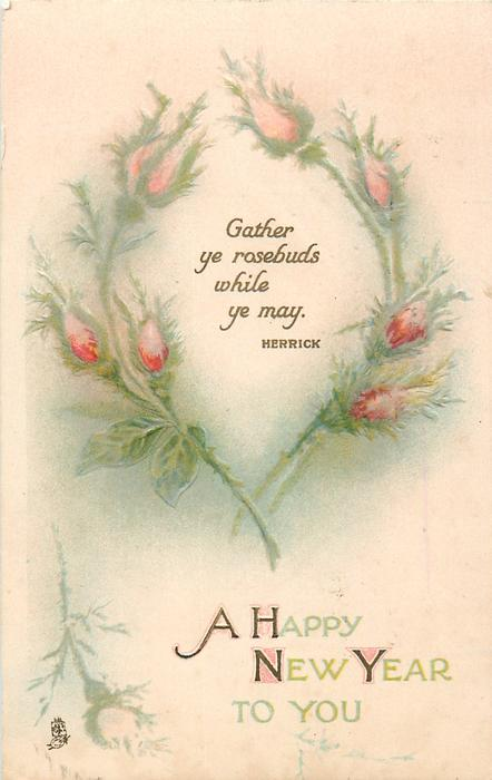 A HAPPY NEW YEAR TO YOU  or A HAPPY CHRISTMAS TO YOU rosebuds circle quotation