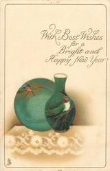 WITH BEST WISHES FOR A BRIGHT AND HAPPY NEW YEAR  vase & plate with birds