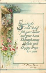 A NEW YEAR WISH   girl leans out window, roses & hollyhocks surround, inset verse