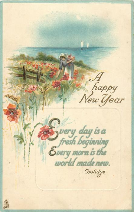 A HAPPY NEW YEAR  woman on meadow, sea & sailing boats behind