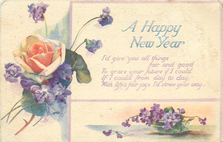 A HAPPY NEW YEAR  roses & violets