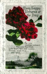 MANY HAPPY RETURNS OF THE DAY roses over country scene