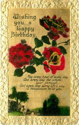 WISHING YOU A HAPPY BIRTHDAY   roses & rural inset