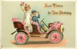 BEST WISHES FOR YOUR BIRTHDAY  children in flowery car driving right