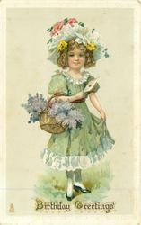 BIRTHDAY GREETINGS  girl with basket of lilac