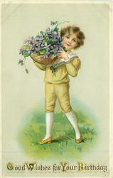 GOOD WISHES FOR YOUR BIRTHDAY  boy holds basket of violets