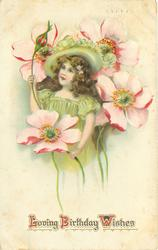 LOVING BIRTHDAY WISHES  girl under exaggerated pink anemones