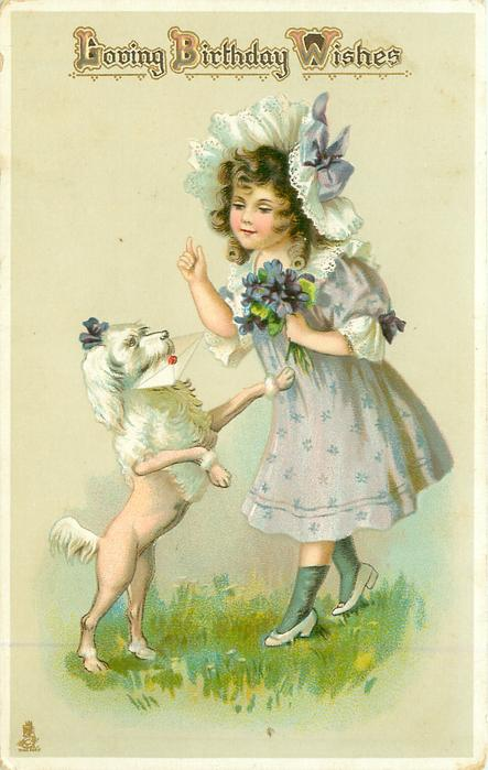 LOVING BIRTHDAY WISHES  girl with buch of violets & poodle jumping up