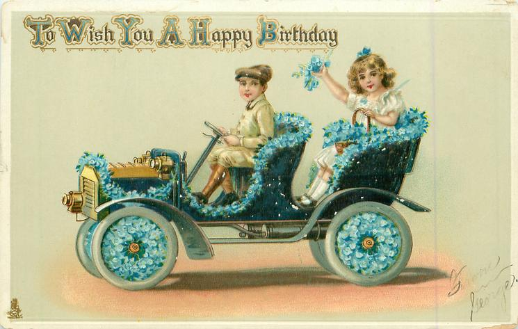 TO WISH YOU A HAPPY BIRTHDAY  children in flowery car driving left