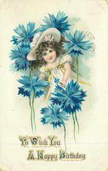TO WISH YOU A HAPPY BIRTHDAY  girl under exaccerated blue cornflowers