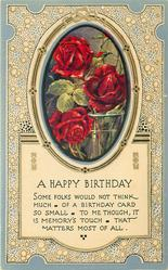A HAPPY BIRTHDAY  inset vase of red roses, blue borders