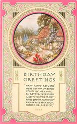 BIRTHDAY GREETINGS   inset cottage & garden, pink borders