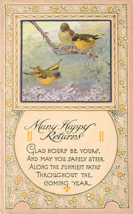 MANY HAPPY RETURNS  inset three yellow-breasted finches