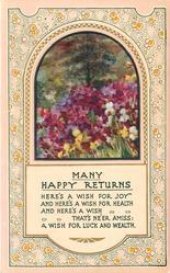 MANY HAPPY RETURNS  inset many coloured iris