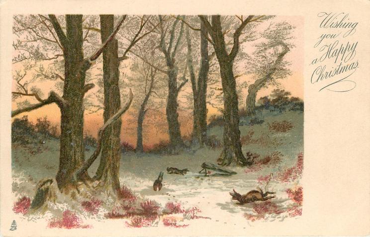 WISHING YOU A HAPPY CHRISTMAS  woodland scene, three rabbits, large trees
