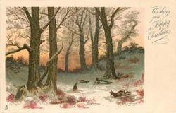 WISHING YOU A HAPPY CHRISTMAS  woodland scene, three rabbits, large trees