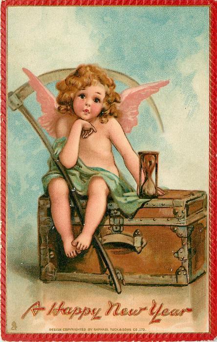 A HAPPY NEW YEAR angel sitting on trunk