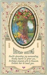 BIRTHDAY GREETINGS inset garden with gate opening to field. blue borders