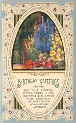 BIRTHDAY GREETINGS inset garden, blue borders