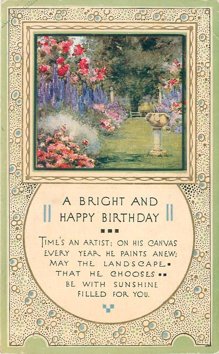 A BRIGHT AND HAPPY BIRTHDAY inset garden with sun-dial