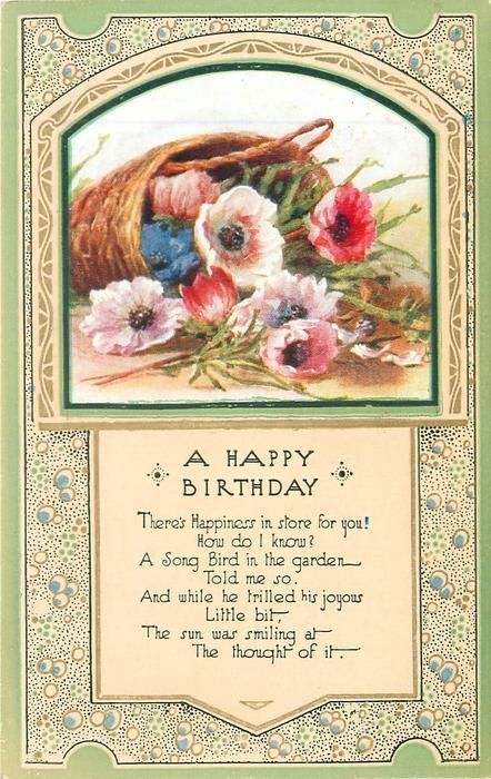 A HAPPY BIRTHDAY inset basket & anemones