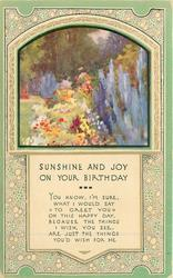 SUNSHINE AND JOY ON YOUR BIRTHDAY  inset garden