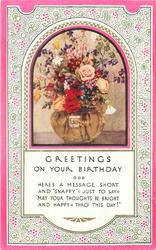GREETINGS ON YOUR BIRTHDAY inset glass bowl of mixed flowers