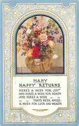 MANY HAPPY RETURNS inset glass bowl of mixed flowers