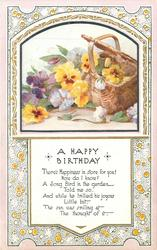 A HAPPY BIRTHDAY inset pansies & basket
