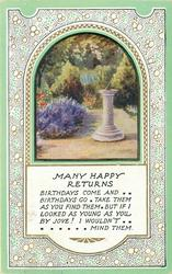 MANY HAPPY RETURNS  inset garden & sundial pink borders