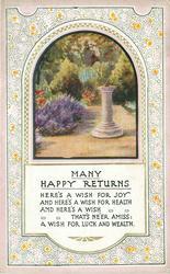 MANY HAPPY RETURNS inset garden & sundial