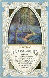 BIRTHDAY GREETINGS  oval inset bluebells