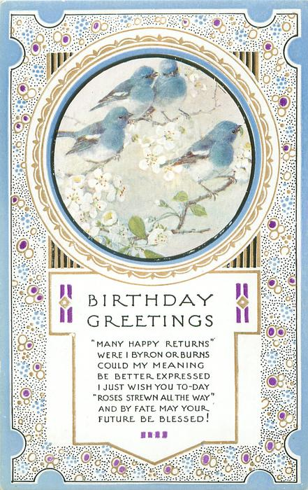 BIRTHDAY GREETINGS circular inset four blue-birds