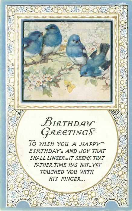 BIRTHDAY GREETINGS rectangular inset four blue-birds