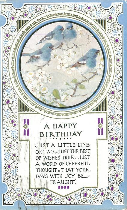 A HAPPY BIRTHDAY round inset four blue-birds