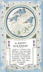 A HAPPY BIRTHDAY round inset four blue-birds