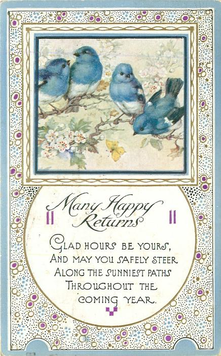 MANY HAPPY RETURNS square inset four blue-birds
