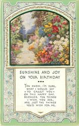 SUNSHINE AND JOY ON YOUR BIRTHDAY inset garden & path