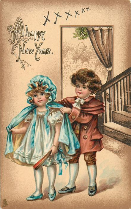 A HAPPY NEW YEAR  boy helps to girl with coat