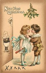 NEW YEAR GREETINGS  two children about to kiss under mistletoe
