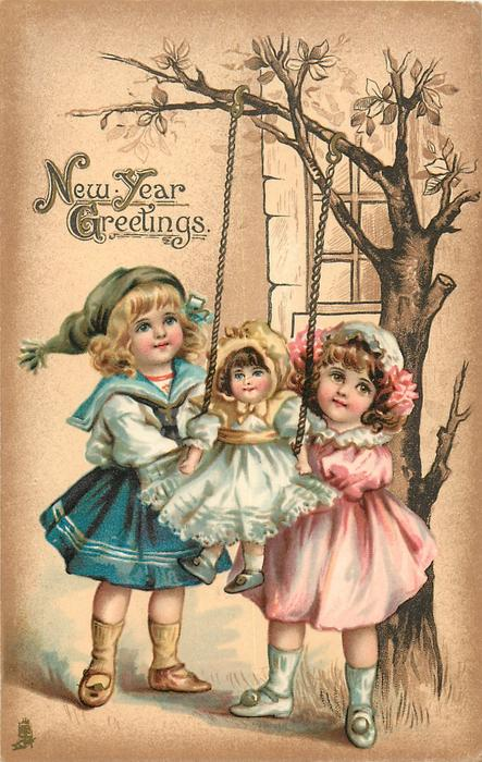 NEW YEAR GREETINGS  two children swing doll
