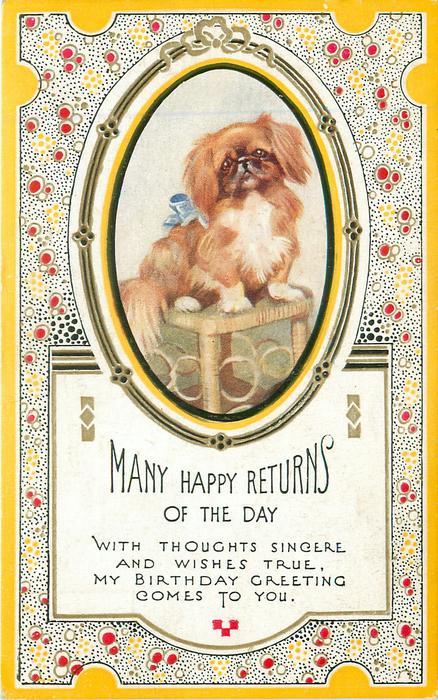 MANY HAPPY RETURNS OF THE DAY oval inset pekingese dog