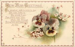 NEW YEAR GREETINGS  pansies & small white flowers