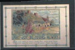 MAY JOY BE YOURS ALWAY  stained glass picture of cottage