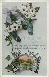 A NEW YEAR WISH  daisies over horse-shoe, rural scene over lattice